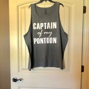 Gray Captain of my Pontoon Tank Top size 2XL